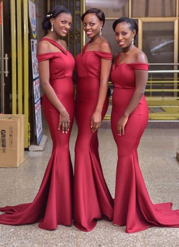 Gorgeous Off-the-Shoulder Red Bridesmaid Dress | 2020 Mermaid Long Maid of Honor Dress