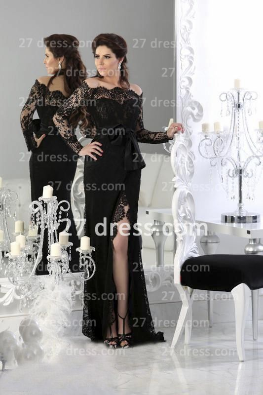 Black Sexy Lace Arabic Prom Dress 2020 Long Sleeve Sheath Split Evening Gowns
