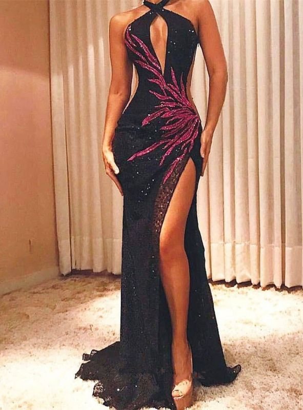 Gorgeous Halter Sleeveless Prom Gowns On Sale | Long Mermaid Beaded Sequins Evening Dress With Split BC0915