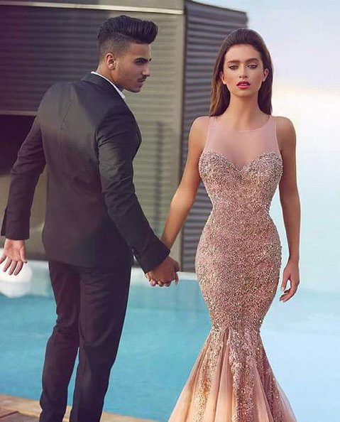 Luxurious Sleeveless Sequins Mermaid Evening Dress 2020 Tulle Lace Appliques MH100