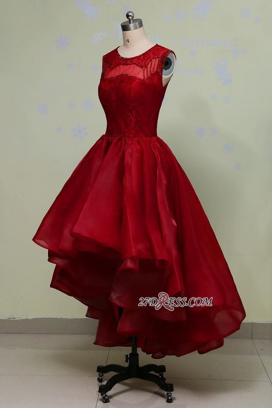 2020 Glamorous Sleeveless Sequins Lace Red Hi-Lo Prom Dress