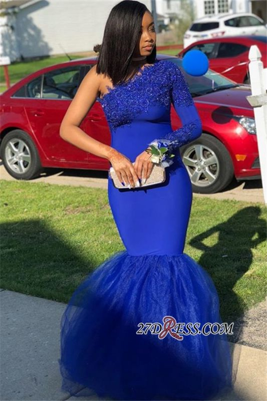 Royal Blue Appliques Mermaid Evening Gown | Sexy One-Shoulder Tulle Prom Dress BC1526