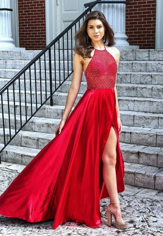 Modest Halter Front Split A-Line Sleeveless Evening Dress   Red Beadings 2020 Prom Gown On Sale