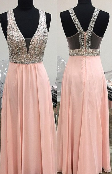 Lovely Pink Halter 2020 Prom Dress Long Chiffon With Beaidngs