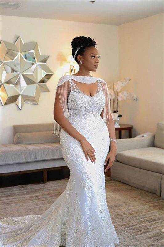 Gorgeous Off Shoulder Beading Appliques Wedding Dress Mermaid Sexy Bridal Dresses