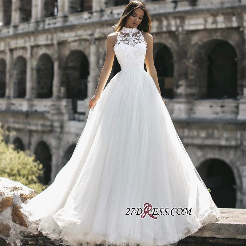 A-Line Sleeveless High Lace Neck Long Appliques Simple Bridal Gown
