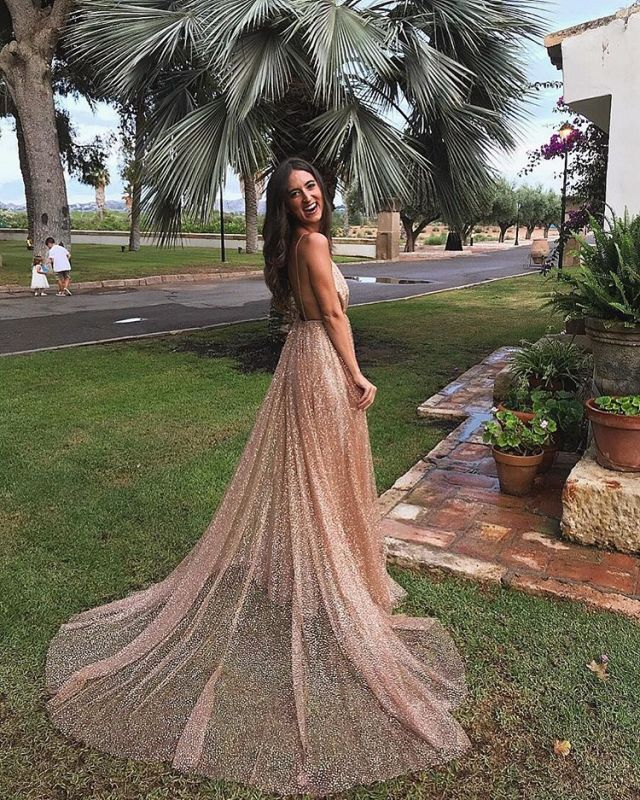 Glamorous V-Neck Spaghetti Strap Evening Dress | 2020 Sequins Long Prom Gowns On Sale BC0515