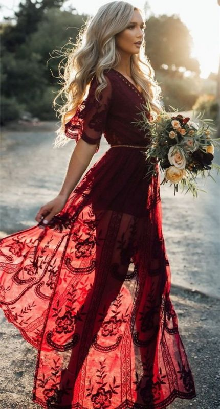 Beautiful Burgundy Evening Dresses | 2020 Short Sleeve Lace Prom Gowns