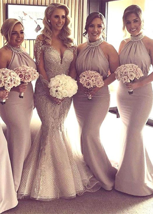 Halter Crystal 2020 Bridesmaid Dresses | 2020 Mermaid Long Bridesmaid Dresses