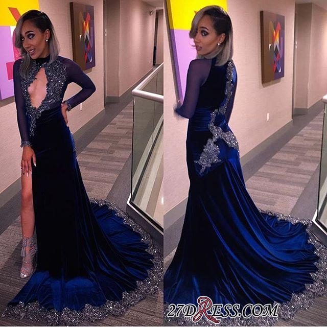 Sexy Halter Sequins Key-Hole Long-Sleeves High-Slit Prom Dress CC0030 BK0