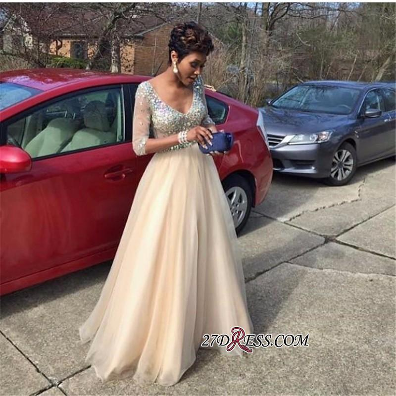2020 V-Neck Crystal Glamorous Half-Sleeves Tulle Floor-Length Prom Dress