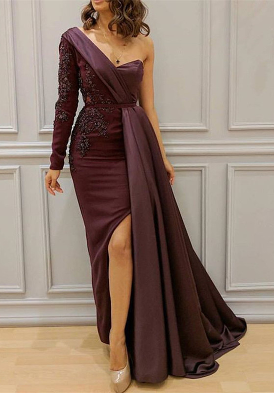 Stunning One Shoulder Evening Gowns | 2020 Slit Long Prom Gowns BC1054