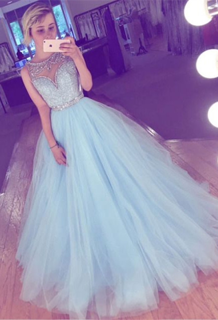 Tulle crystal prom dress, 2020 evening dress long