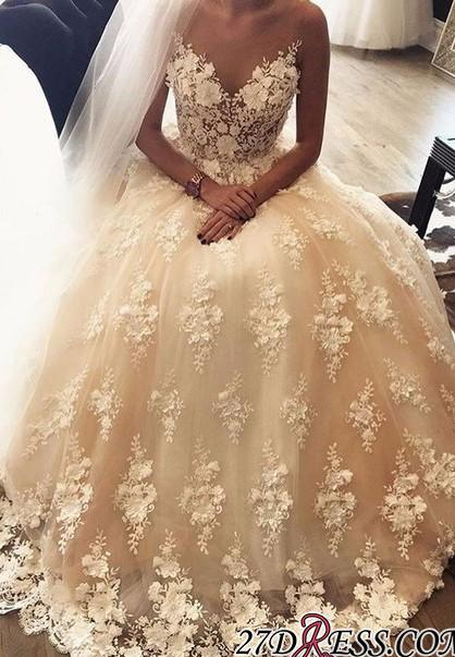 Exquisite Sweep-Train A-Line Appliques Lace Sweetheart 3D-Floral 2020 Wedding Dress
