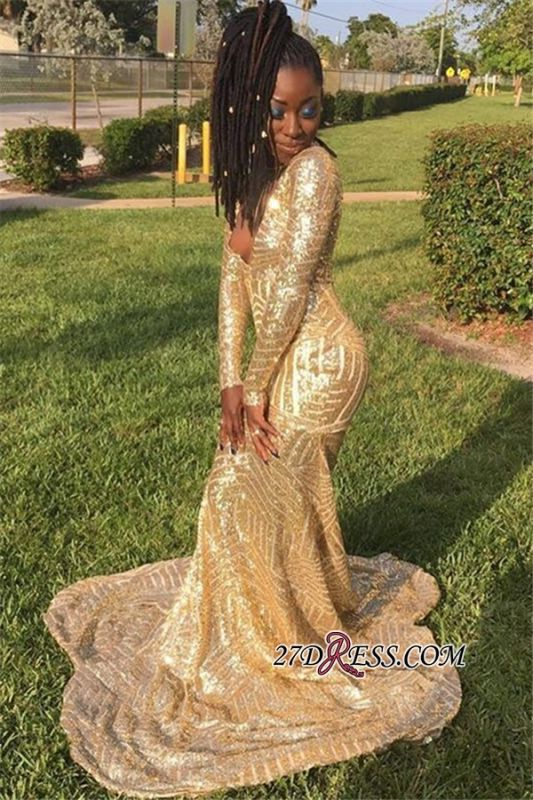 Gold Sequins V-Neck Mermaid Prom Dresses | Gorgeous Long-Sleeveless Prom Gown