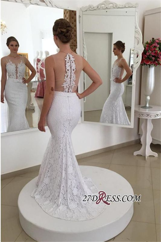 2020 Sleeveless Simple Mermaid Lace Appliques White Wedding Dress