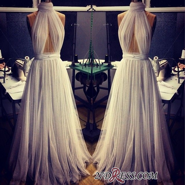 A-line Sleeveless Newest High-Neck Tulle Prom Dress BA2524