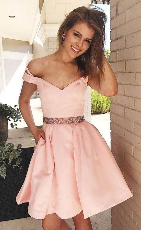 Lovely Off-the-Shoulder Short Prom Dress | 2020 Pink Mini Homecoming Dress