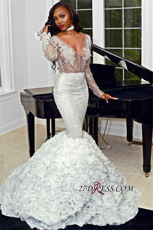 High Neck Long Sleeves Appliques Party Dresses | Sexy Flowers Sheer Prom Dresses bk0