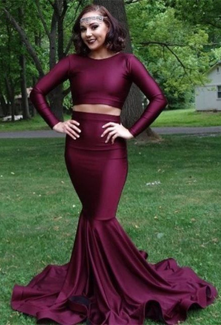 Burgundy two piece prom dress, long mermaid evening gowns BA8861