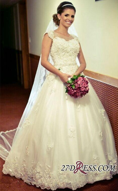 2020 Cap-Sleeve Lace Tulle Ball Appliques Jewel Crystal-Belt Princess Gown Wedding Dres