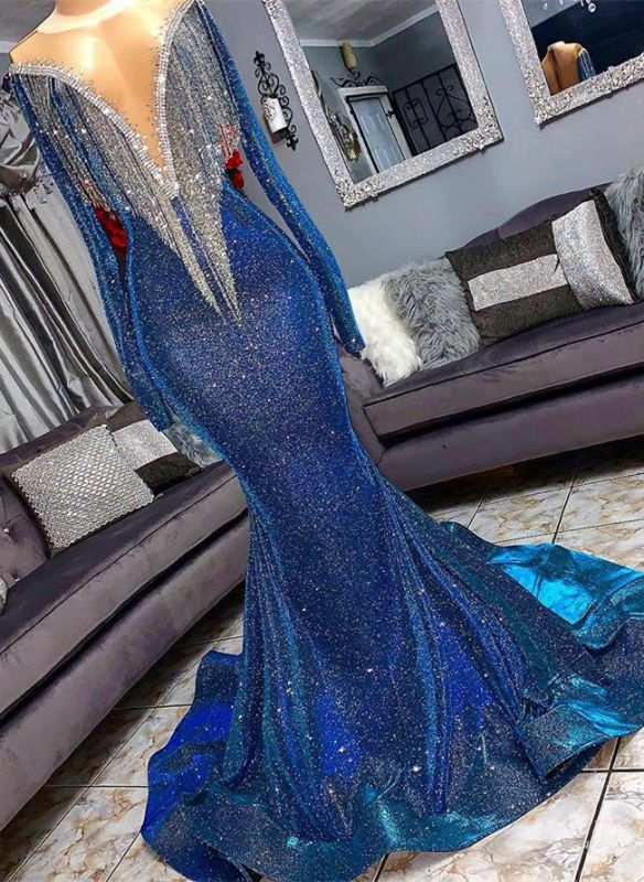 Glamorous Sequins Mermaid Long Sleeve Prom Dresses | 2020 Mermaid Evening Gowns With Tassels BC1367