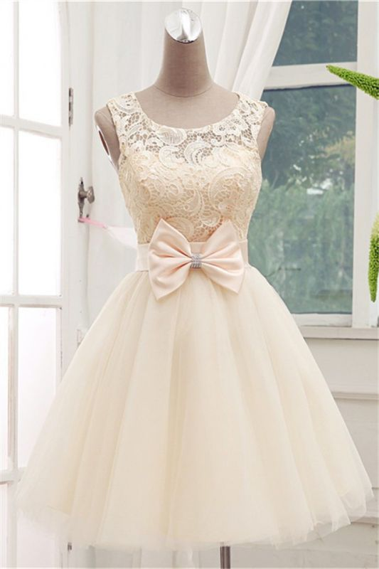 Timeless Sleeveless Lace Cocktail Dress Bowknot Tulle Short Prom Gowns BC1139