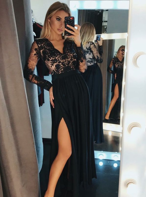Newest Black Lace V-neck Prom Dress | Long Sleeve Formal Dress with Split BC0417