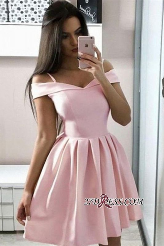 Off-the-shoulder Gorgeous A-line Pink Homecoming Dresses