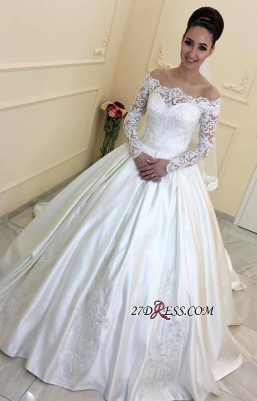 Sweep-Train Long-Sleeves A-line Off-the-Shoulder Lace 2020 Wedding Dresses BA7381