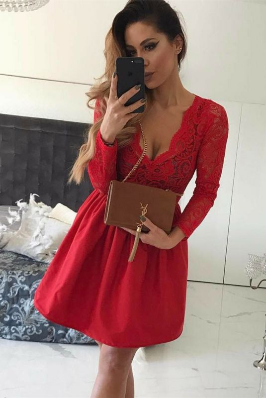 Sexy Red V-Neck Short Prom Dress   Long Sleeve Lace Homecoming Dress BC0643