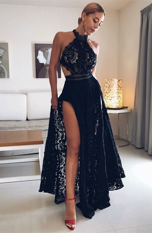 Sexy Halter Black Prom Gowns | 2020 Lace Evening Dress With Slit BC0162