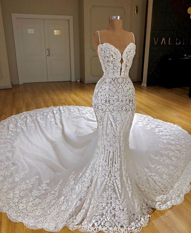 Charming Spaghetti Straps Lace Appliques Bridal Gowns | Mermaid Sleeveless 2020 Wedding Dress