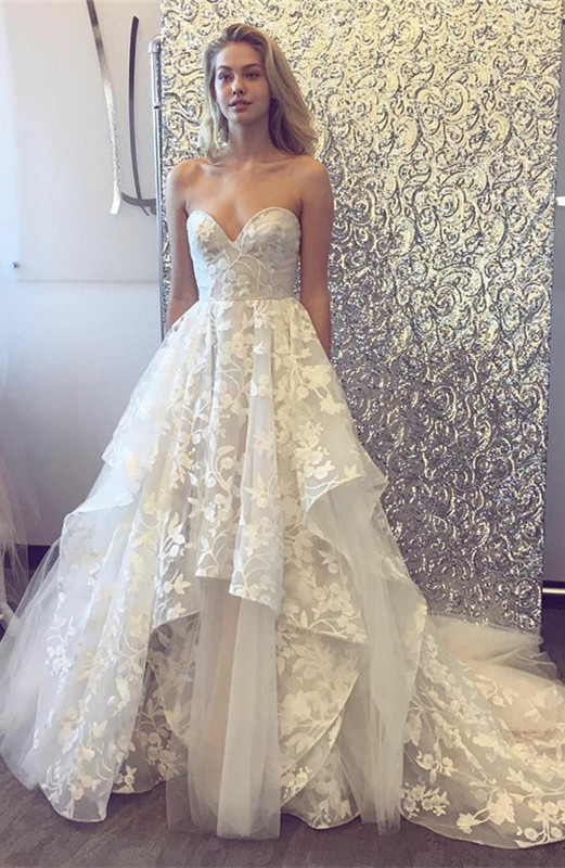 Beautiful Sweetheart Wedding Dress | 2020 Lace Appliques Princess Bridal Gowns