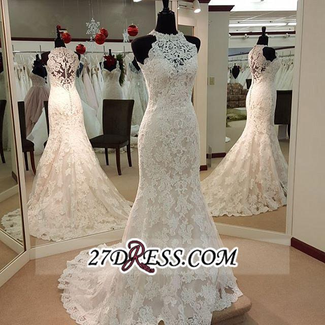 Sleeveless Buttons Court-Train Elegant Mermaid Lace Wedding Dresses