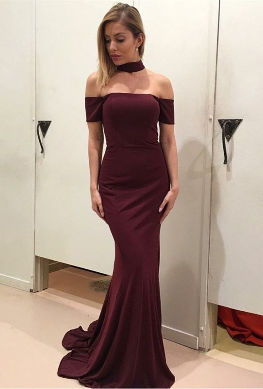 Gorgeous Short Sleeve Prom Dress   2020 Wine Red Long Evening Gowns