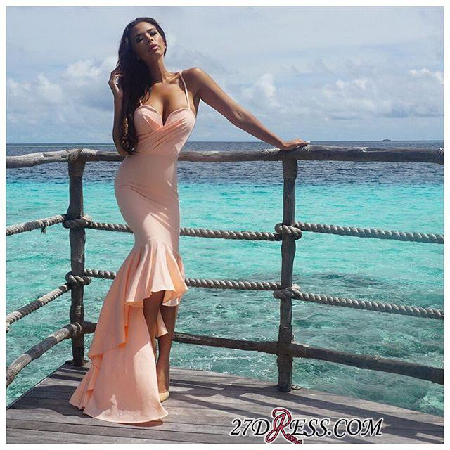Nude Sweetheart Gorgeous Mermaid Hi-Lo Spaghetti-Starps Prom Dress