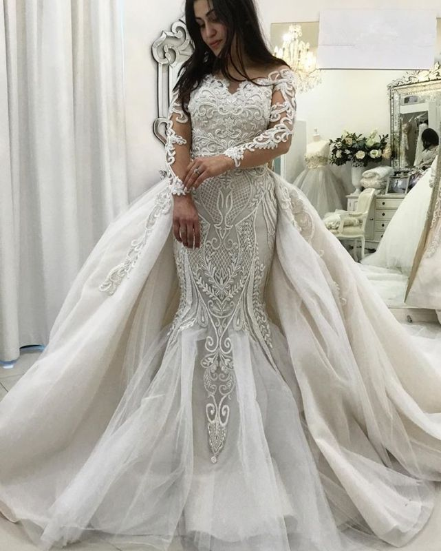 Gorgeous Long Sleeve Lace Wedding Dresses | 2020 Mermaid Ruffles Bridal Gowns On Sale