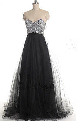 Glamorous Sweetheart Sleeveless Tulle Prom Dress With Sequins