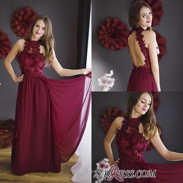 Lace Halter Chiffon Floor-length Sheath Burgundy Sleeveless Prom Dress