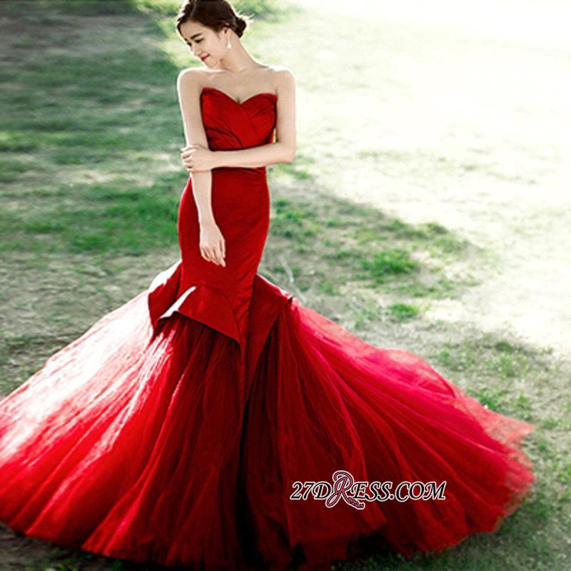 Red Sweetheart Sexy Lace-Up Mermaid Evening Dress