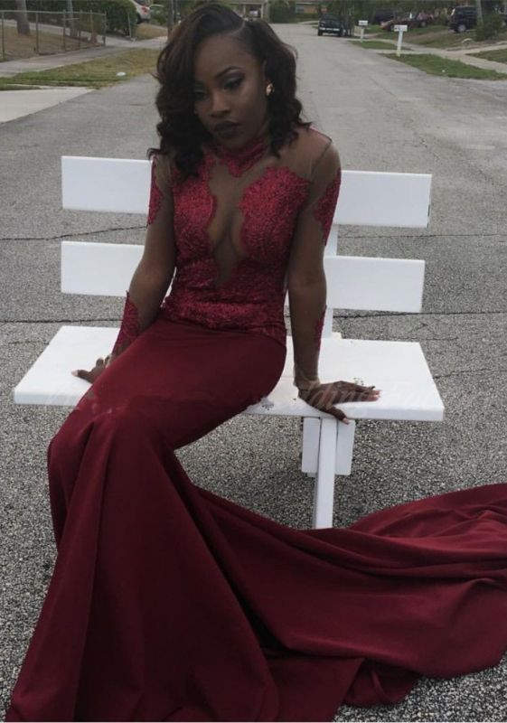 Burgundy mermaid prom dress, 2020 long sleeve evening gowns