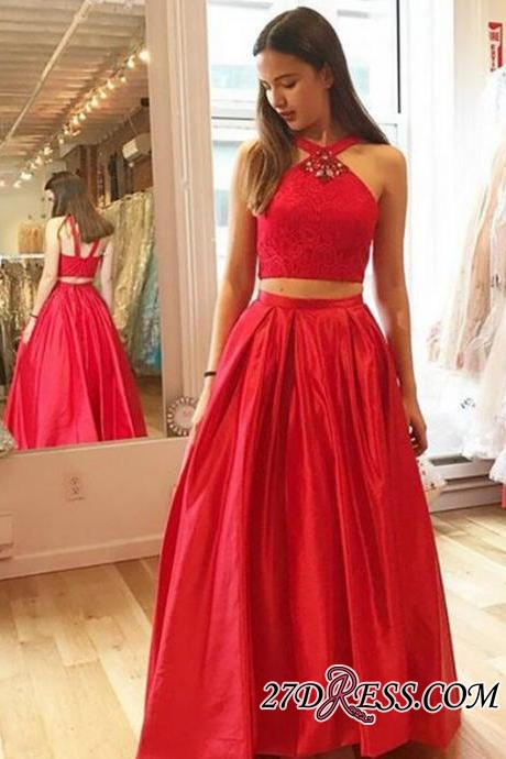 Glamorous Red Halter A-Line Crystal Two-Pieces Prom Dresses
