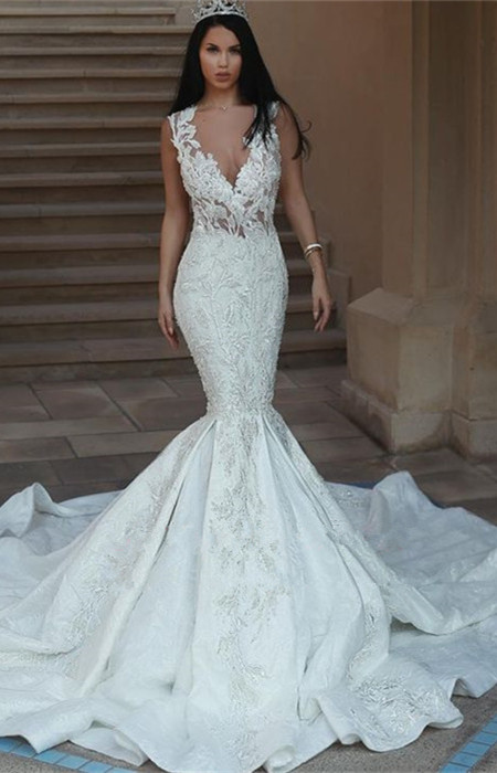 Gorgeous V-Neck Wedding Dress | 2020 Mermaid Lace Bridal Gowns On Sale