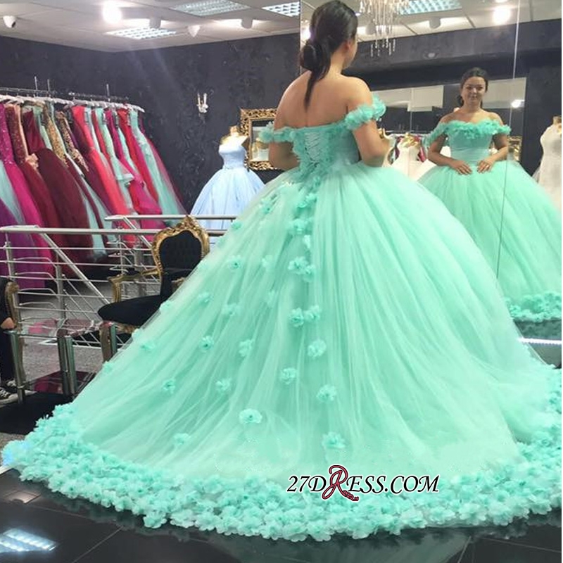 Off-The-Shoulder Cloud Rose-Flowers 2020 Mint-Green Ball-Gown Prom Dresses