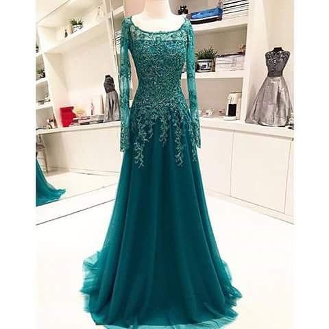 Long-Sleeves Scoop Beaded Appliques Lace A-Line Blue 2020 Evening Dress BA6753