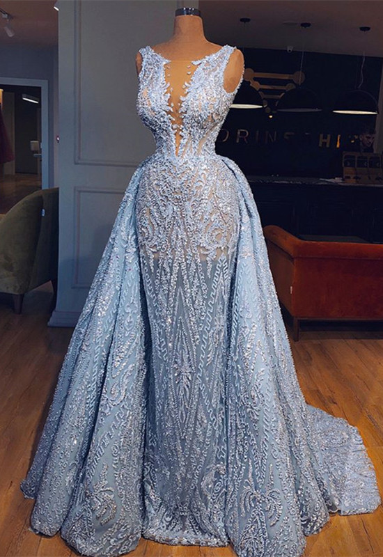 Glamorous Sleeveless Blue Evening Dresses | 2020 Mermaid Ruffles Prom Gowns With Lace BC0373