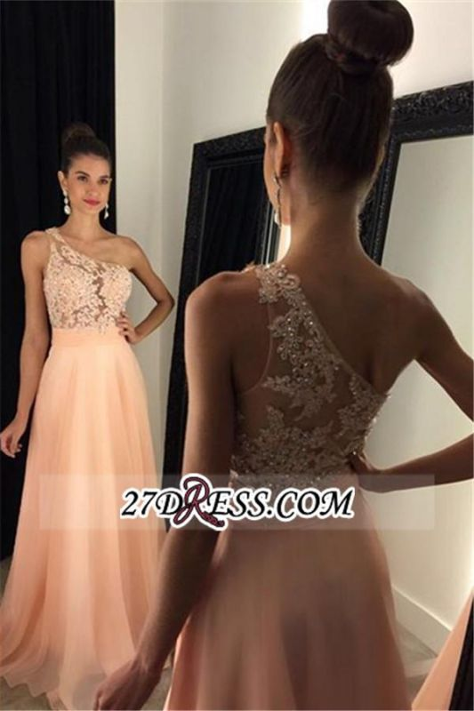 2020 Appliques A-line Lace Gorgeous One-Shoulder Prom Dress AP0 BA4231
