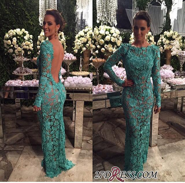 2020 Sheer-Lace Open-Back Mermaid Long-Sleeves Long Evening Gown BA7427