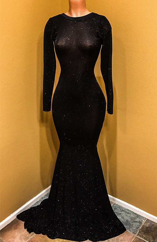 Sexy Black Prom Dress | Long Sleeve Sequins Mermaid Party Dress BC1099
